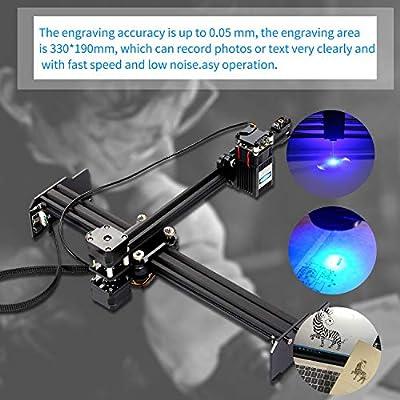 KKmoon 15W Laser Engraving Machine High Speed Mini Desktop Laser Engraver Printer Portable Household Art Craft DIY Laser Engraving Cutter for Wood Plastic Bamboo Rubber Leather US Plug