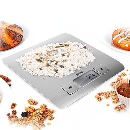 Duronic KS1009 Super Slim Sleek Design Digital Display 5 KG / 11 LB Electronic Kitchen Scales - with Glossy Brushed Chrome Stainless Steel Surface and 2 ...