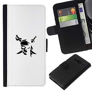 YiPhone /// Tirón de la caja Cartera de cuero con ranuras para tarjetas - Minimalista bandera pirata - Samsung Galaxy Core Prime