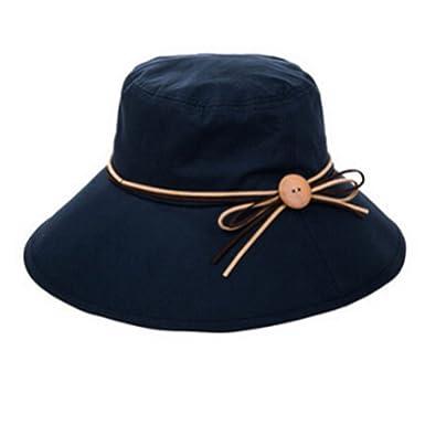 0cf9e727933 Stofirst Plain Fashion Cotton Skin-friendly Breathable Sun Hat Women Girls  Summer Wide Brim Anti-UV Anti-sun Beach Cap Round Hat(Navy)  Amazon.co.uk   ...