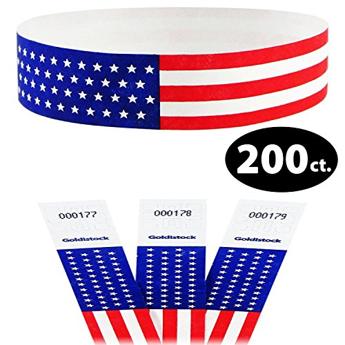 Tyvek Wristbands - Goldistock Traditional Old Glory Flag with Stars 200 Count - ¾