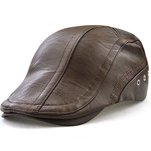 GESDY Men's Vintage Newsboy Cap PU Leather Ivy Flat Gatsby Hat Winter Golf Driving Hats Beret Caps