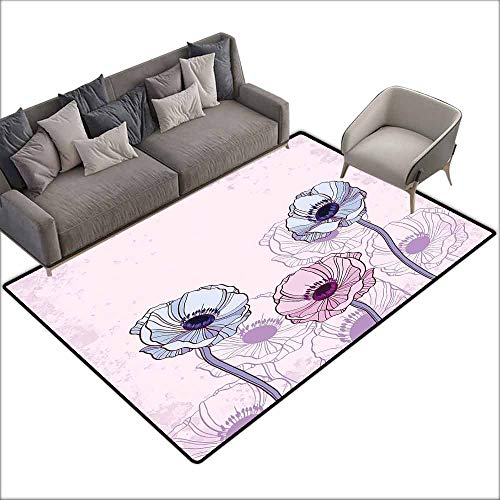 - Dining Table Rugs Anemone Flower,Retro Grunge Display with Graphic Anemone Field Buds Leaves,Light Pink Lilac Baby Blue 60