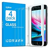 Apiker [4 Pack] Screen Protector Compatible for iPhone 7 Plus and iPhone 8 Plus, Tempered Glass with Alignment Frame, 9H Hardness, Anti-scratch, Anti-oil, Anti-bubbles, Case Friendly , 2.5D Round Edge