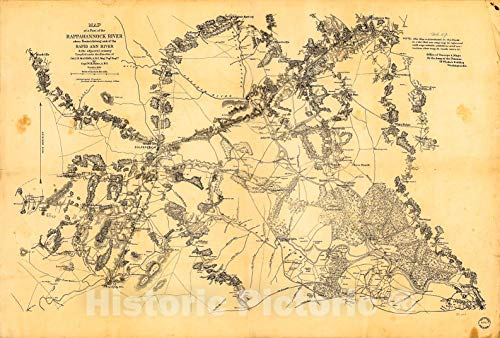 Historic 1862 Map | Map of a Part of The Rappanhannock River Above Fredericksburg and The Rapid Ann River & The Adjacent Country 36in x 24in (Va City Rapid)