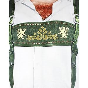 Faux Real Oktoberfest T-Shirt for Men – Lederhosen Hairy Chest Design – Size X-Large Green