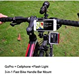 Fantaseal Multi-purpose Smartphone + Flashlight + Super 3-in-1 Fast Bike Mount for GoPro Session/Hero 4/3/SJ4000/SJ5000 / Xiaomi Xiaoyi /Sony/iPhone6/6s + more