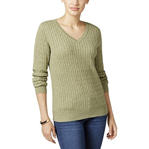 Karen Scott Marled Cable-Knit Sweater in Hazel Marl (Small) Marl Cable