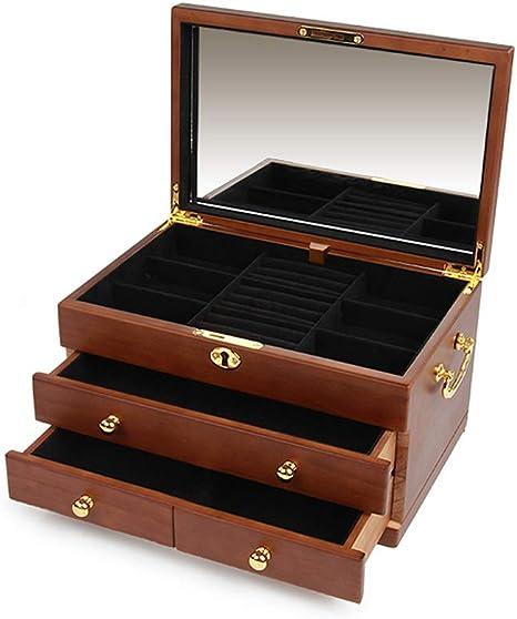 Cajas para Joyas de Madera 3 Capas con 3 Cajones Cajas de Almacenaje para Pulseras Collares Anillos Cajas de Regalo Cofres para Joyas con Espejo Accesorios de Joyería Bloqueable Cajas para Relojes: