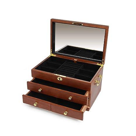 Cajas para Joyas de Madera 3 Capas con 3 Cajones Cajas de Almacenaje para Pulseras Collares