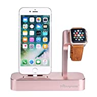 Support de chargement iPhone Apple Watch , Mbuynow Station de chargeur en aluminium massif 2 in 1 pour Apple Watch Series 2 / Series 1 / Nike +, iPhone 7 / 7Plus / 6 / 6s / 6s Plus / 5 / 5s / SE Rose Gold