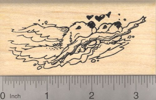Valentines Day Labrador Retriever dogs Rubber Stamp, Golden Retrievers