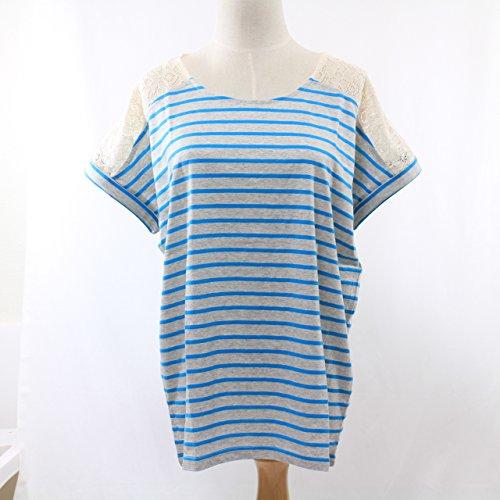 選べる 蛍光 カラー ボーダー Tシャツ 襟 レース 切り替え (L ターコイズ)