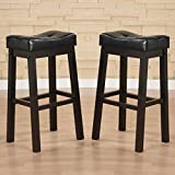 Cheap Bar Stools Set of 3 Unique Hadden Bicast Leather 30 inches Height Tufted Saddle Barstool (Set of 2) Bar Chair