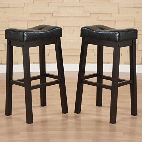 Unique Hadden Bicast Leather 30 inches Height Tufted Saddle Barstool (Set of 2) Bar Chair (Bar For Breakfast Stools Sale)