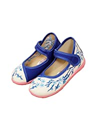 KVbaby Vintage Girls Mary Jane Pumps Canvas Trainers Flat Embroidered Shoes Soft Soles Shoes