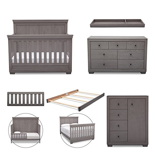 Simmons Kids Ravello 6-Piece Nursery Furniture Set (Convertible Crib, Dresser, Chest, Changing Top, Toddler Guardrail, Full Size Conversion), Storm Grey by Delta Children
