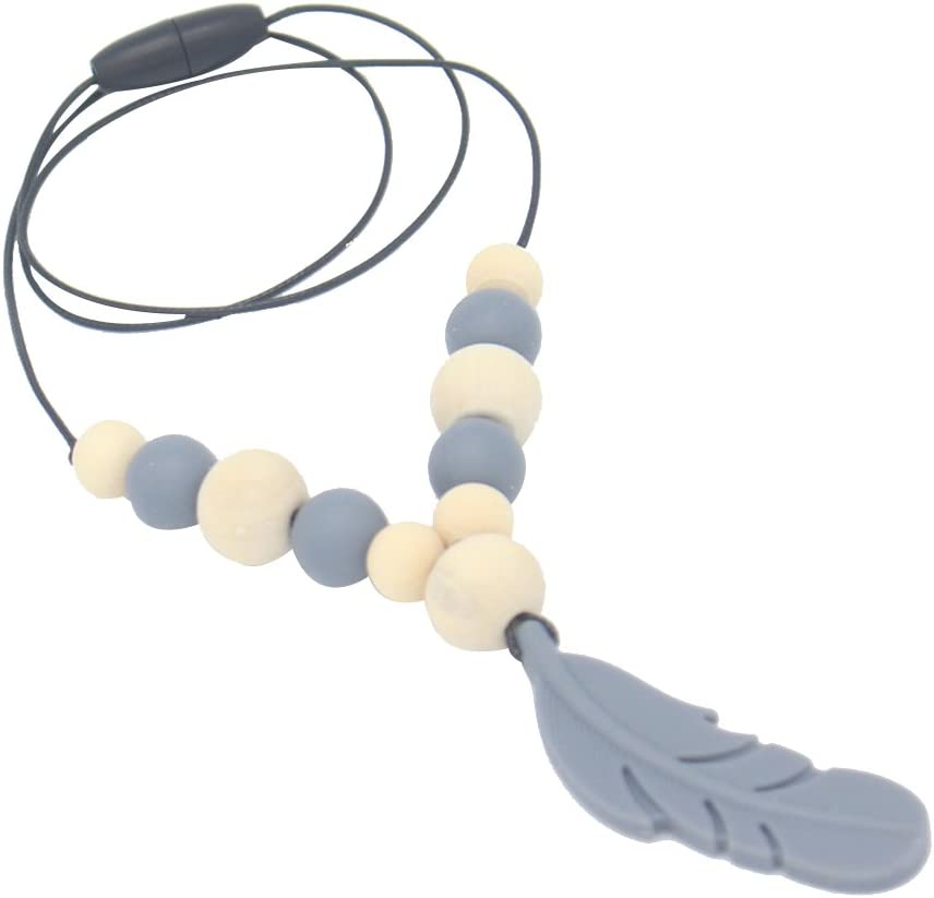 Healifty Silicone Teething Necklace Nursing Necklace Beads Baby Teether Necklace for Mom Wear Dark Blue