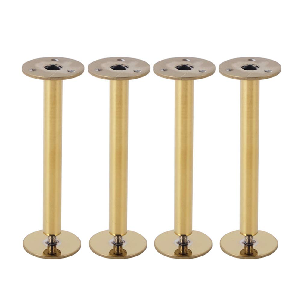 Adjustable 150mm   5.9 in Stainless Steel Sofa Feet × 4, European gold Bedside Table Legs Tea Table Feet Tv Cabinet Feet Table Legs