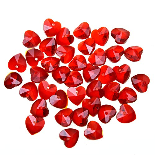 Monrocco 40 Pcs Crystal Glass Heart Beads Spacer Beads for Jewelry Making Crafting (Red, 10mm)