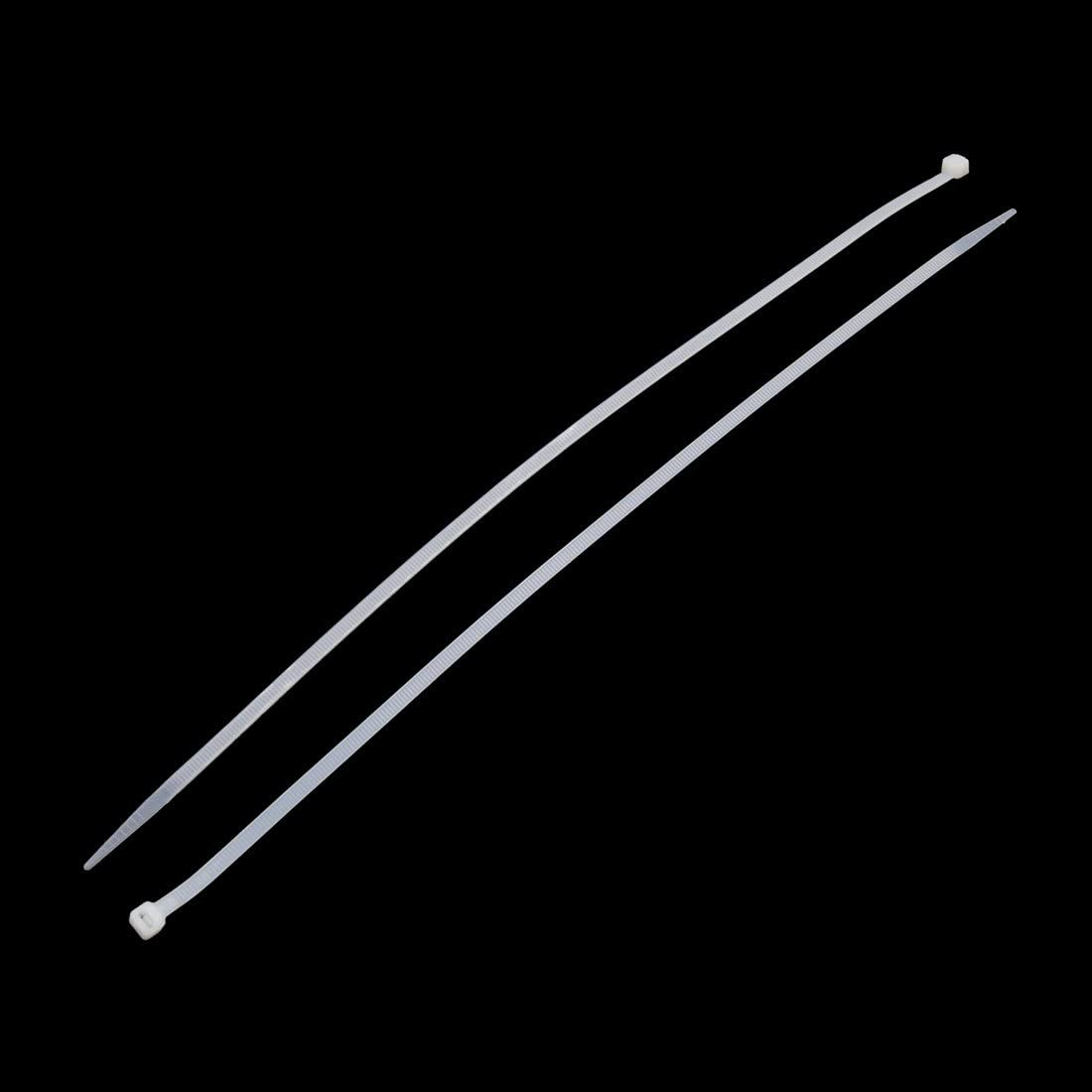 uxcell 102Pcs 400mm x 8mm White Nylon Fastening Cable Zip Tie Fasten Wrap Strap for Car