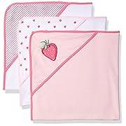 Rene Rofe Baby Baby 3 Piece Hooded Towel Set, Pink Stawberries, Newborn