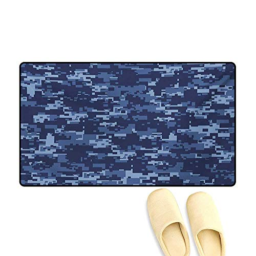 Bath Mat,Militaristic Digital Effected Armed Forces Pattern Grunge Fashion in Blue,Floor Mat Pattern,Dark Blue Pale -