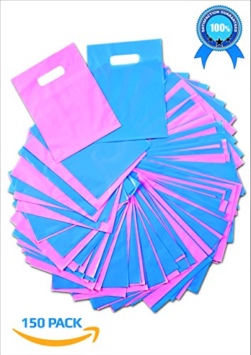 Cut Swag - Plastic Thank You Gift Bags with Die Cut Handles 9x12 Inch (150) - Pink and Blue Glossy Pastels, Thick Poly - Retail Merchandise Shopping, Bulk Wholesale Pack - Quality Made - Bonus ebook