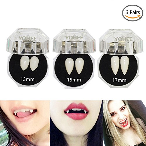 Easy Vampire Makeup (YOHEE 3 Pairs Vampire Teeth Fangs Dentures Cosplay Props Halloween Costume Props Party Favors)