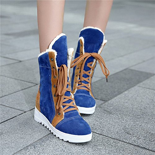 Carolbar Womens Lace up Assorted Colors Warm Winter Fashion Hidden Heel Snow Boots Blue EnerhfD4