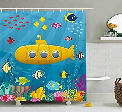 Ambesonne Yellow Submarine Shower Curtain Set, Coral Reef With Colorful Fish  Ocean Life Marine Creatures