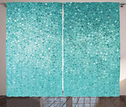 "Ambesonne Turquoise Curtains, Small Dot Tiles Shape Simple Classical Creative Design, Living Room Bedroom Window Drapes 2 Panel Set, 108"" X 84"", Turquoise"