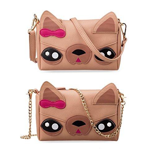 Designs Chihuahua Detachable Women Evening Clutch Straps Bag PU BMC and Girls Crossbody Cute Teens Leather Bear Handbag Faux Cat Animal for Various Dog Shoulder Face for Casual 3 Purse Wristlet 0wfTqz0C