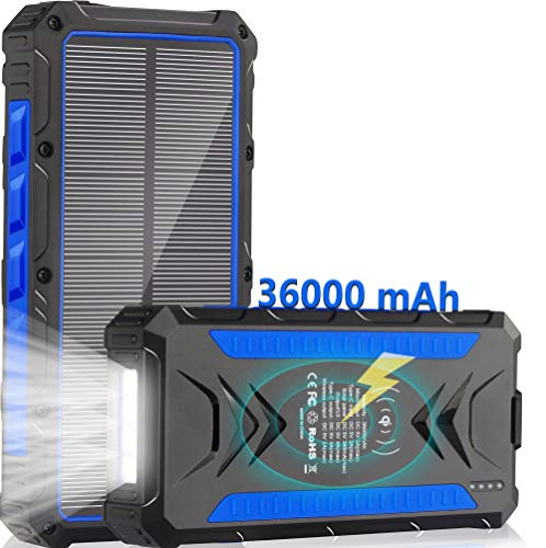 Solar Charger 36000mAh Qi Wireless Power Bank Phone Venecian Blue