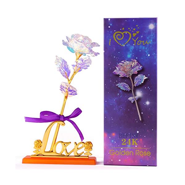 Colorful Artificial Flower Galaxy Plastic Rose with Love-Shaped Stand Unique Presents Valentine's Day Thanksgiving Mother's Day Girl's Birthday, Best Gifts for Her for Girlfriend Wife Women