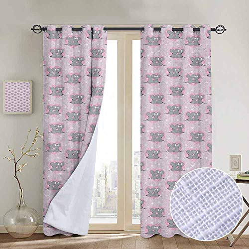 - NUOMANAN Light Blocking Curtains Pink and Grey,Little Mouse Characters with Hearts on Striped Backdrop for Toddler Nursery, Pink Grey,for Bedroom, Kitchen, Living Room 54