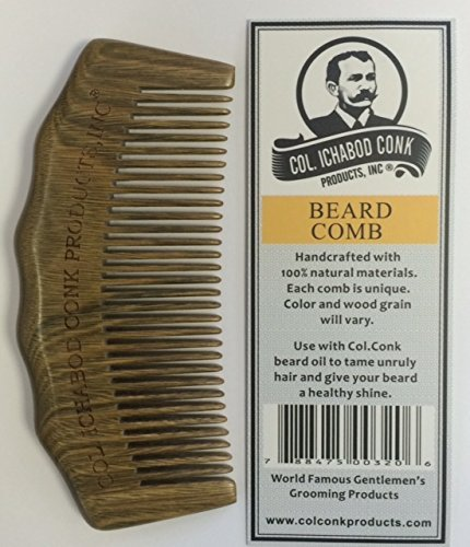Col Ichabod Conk Handcrafted Sandalwood Large Beard Comb measures 4 3/4 x 2 1/4 and tooth length is 1 1/4 at longest point with free course fine pocket comb by (Longest Beard)