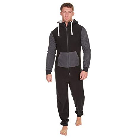 a7ea3472719 Men s Christmas Onesie Jumpsuit one Piece Non Footed Splicing Pajamas Unisex -Adult Hooded Overall Hoodie Zip up Playsuit Xmas Romper (Black