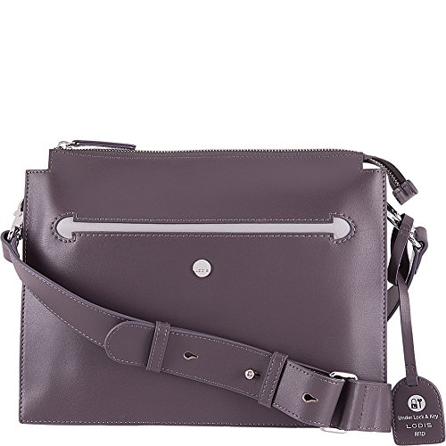 Lodis Downtown RFID Dalia Large Accordion Crossbody (Cement/Lava) by Lodis
