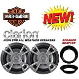 """96-2013 Premium 6 1/2"""" Clarion Marine Harley Touring Speaker Package with Adapter Rings"""
