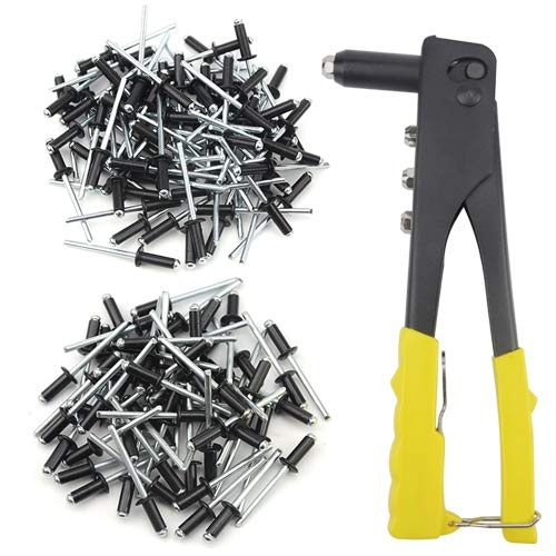 XLX Hand Pop Riveter Gun Nozzle Wrench Riveting Tool with 100 PCS M4 M5 Black Cap Aluminum Bind Rivets Round Dome Head Open End Super Fasteners Pop Rivets Assortment Kit by XLX (Image #6)