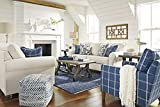 Adderbury Bone-tone Fabric Loveseat with Blue Windowpane Plaid Print Accent Chair Set