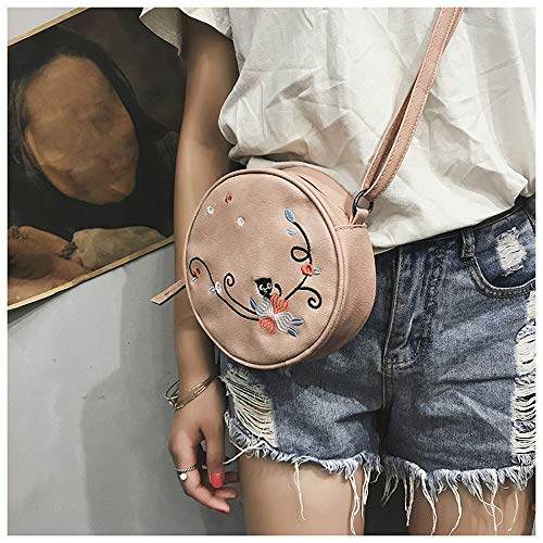 Round Handbag Bag Crossbody Shoulder Cute Messenger Robemon Embroidered Women Pink Circular Fashion Satchel Casual w1aREvxqR