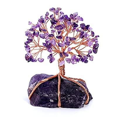 Jovivi Natural Amethyst Crystal Money Tree Crystal Quartz Feng Shui Wealth Ornament Tree of Life Healing Crystals Reiki Office Living Room Table Decoration Good Luck Health Figurine Gift - UNIQUE DESIGN-Amethyst Healing crystals Money tree ornament with amethyst stone stand,Handmade Rose Gold Copper wire wrapped tree of life Tumbled Gemstones healing chakra crystal quartz Lucky tree Bonsai Style wealth fengshui decor statue Sculpture.When you received it, pls separate the branches and tree roots as picture showed. Make this masterpiece work by yourself. AMETHYST - is the stone of St. Valentine and faithful love, and signifies ecclesiastical dignity as the Bishops Stone. It carries the energy of fire and passion, creativity and spirituality, yet bears the logic of temperance and sobriety,enabling the person who wears it to clarify the thoughts and achieve inner harmony, even can protects against witchcraft and evil forces.It is known as ¡°February birthstone¡±. THE TREE OF LIFE-is associated with knowledge and wisdom.A simple Tree of Life fengshui decor can keep you inspired and encouraged,help you find strength and stability.The Tree of Life with its seeds,branches and roots signifies the family tree.It will Infuse Abundance and Prosperity into Your Life.When you wear it,it promotes beauty, health,good luck,and healing. - living-room-decor, living-room, home-decor - 51VVRrj0hEL. SS400  -