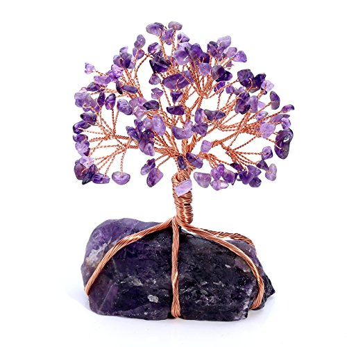 Jovivi Natural Amethyst Crystal Money Tree Crystal Quartz Feng Shui Wealth Ornament Tree of Life Healing Crystals Reiki Office Living Room Table Decoration Good Luck Health Figurine Gift