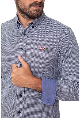Spagnolo Camisa Gabardina Cuadros 0025, Pata DE Gallo Azul ...