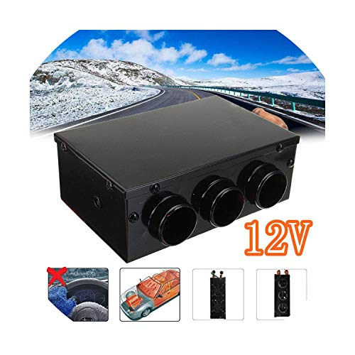 (3 Holes 12V 60W Portable Car Vehicle Heating Heater Automatic Warmer Low Noise Vehicle Window Glass Defroster Demister)