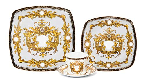 537d6adc353d Euro Porcelain Deluxe 16-pc Tea Coffee Cup Dinner Set, 24 kt Gold Plated