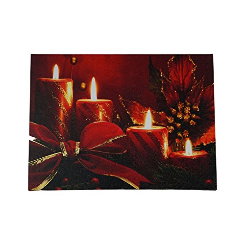ter Striped Candles with Poinsettia & Bow Christmas Canvas Wall Art 12
