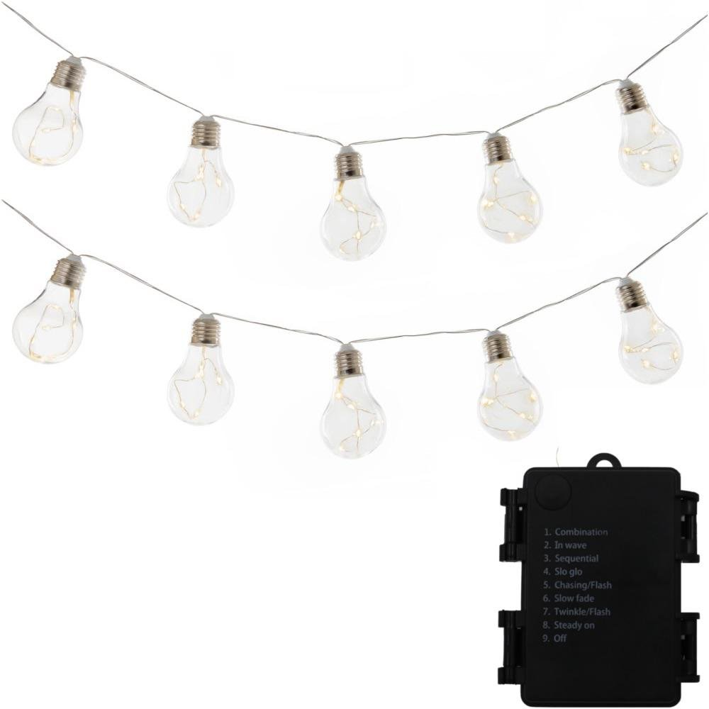 Battery Operated Wireless 10-Light 9 ft Integrated LED Edison Bulb String Light HunnyKome BAB-15F10M-CL Warm White HunnyKome Solar Lighting